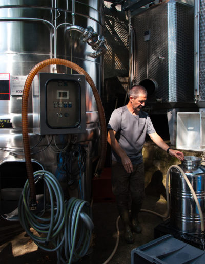 travaux en cuverie du Domaine Saint-Germain, vin biologique en Savoie, Saint-Pierre d'Albigny
